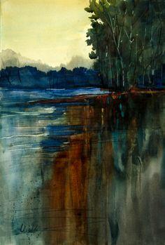 As Day Breaks by Judy Wilder Dalton Watercolor ~ 21 x 14.5