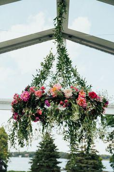 Summer Lake Minnetonka Wedding | Janelle Sutton | Floral Chandelier