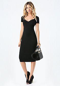 $119 Lace+Trim+Ponte+Dress