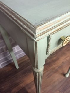 Mint and Gold shabby chic table by THENESTpgh on Etsy