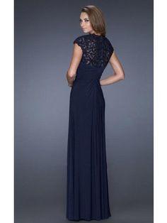 A-line/Princess Lace Short Sleeves Chiffon Straps Floor-length Dresses - Formal Dresses