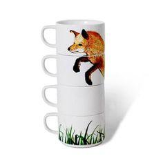 Foxy Stacking Mugs   dotandbo.com
