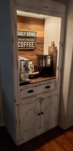 Wine And Coffee Bar, Coffee Bars In Kitchen, Coffee Bar Home, Repurposed Furniture, Cool Furniture, Painted Furniture, Coffee Cabinet, Coffee Bar Design, Diy Home Bar