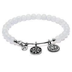 "Chrysalis ""Mantra"" White Chalcedony Expandable Bangle Bracelet"