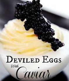 Uptown Caviar Deviled Eggs take stuffed eggs to a new level of excellence. By adding caviar the taste becomes quite sensational and the dish, very gourmet! Finger Food Appetizers, Appetizer Recipes, Antipasto, Don Perignon, Egg Recipes, Cooking Recipes, Tapas, Caviar Recipes, Elegant Appetizers