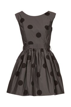 Dark grey chic with polka dots! Love the tailoring!
