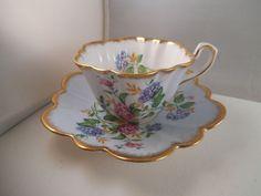 Vintage Rosina Bone China England Teacup Tea Cup & Saucer Pink Blue Flowers