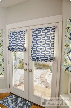 Latest Roman Shades On French Doors Decorating with Best 25 French Door Blinds Ideas On Home Decor French Door Blinds For Windows, Curtains With Blinds, Windows And Doors, Roman Blinds, Window Blinds, Window Valences, Bedroom Curtains, Valances, Blinds Diy