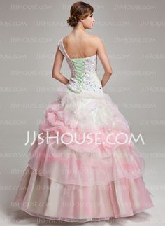 Ball-Gown One-Shoulder Floor-Length Organza Quinceanera Dress With Ruffle Lace Beading (021004716)