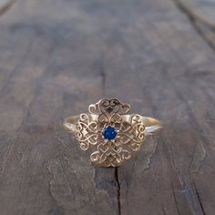Gold victorian Sapphire antique rings  Filigree  Vintage by ARDONN