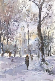 Igor Sava watercolor -Painting holiday Spain with Dalvaro Art Courses - Learn watercolor techniques with Igor Sava Watercolour Artist - Enjoy painting in Spain Workshop Igor Sava Art Aquarelle, Art Watercolor, Watercolor Landscape, Landscape Art, Landscape Paintings, Pinturas Em Tom Pastel, Winter Art, Winter Painting, Watercolor Techniques