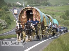 Romany Gypsy caravan on way to Appleby Horse Fair, England, copyright Mark J. Barrett, File: 5729-5