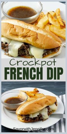 hours · Gluten free · Serves easy Slow Cooker French Dip Sandwich Recipe has fork tender, fall apart beef in a scratch-made au jus that is slow cooked to perfection! Amazingly simple and flavorful without canned or packet… Slow Cooker Recipes, Beef Recipes, Cooking Recipes, Slow Cooking, Beef Dip, Crock Pot Dips, Sandwich Recipes, Fall Recipes, Fall Crockpot Recipes