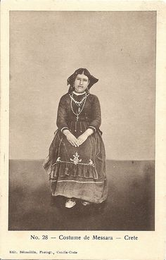 Greece, Messara Costume, Crete, Old postcard Greek Traditional Dress, Crete Island, Simple Photo, Crete Greece, Old Maps, Vintage Pictures, Vintage Postcards, Old Photos, Folk Art