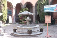 fountain at the Biblioteca Publica the largest bilingual library in Latin America