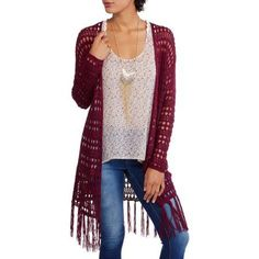 No Boundaries Juniors' Crochet Cardigan with Fringe, Size: Small, Red