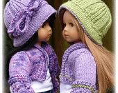 Belle, PDF Doll Clothes a cloche style hat knitting pattern designed for American Girl Dolls by Debonair Designs