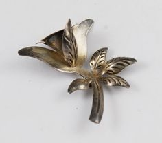 Vintage sterling silver Mexican Floral Pin