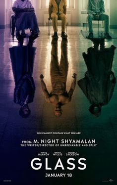 The poster features David Dunn (Bruce Willis), Mr. Glass (Samuel L. Jackson), and The Beast (James McAvoy). Movies 2019, New Movies, Movies To Watch, Movies Online, Good Movies, Popular Movies, Movies Free, Bruce Willis, Hindi Movies