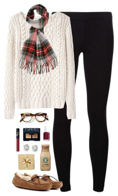"""merry christmas eve & early xmas!!"" by classically-preppy ❤ liked on Polyvore featuring moda, James Perse, Band of Outsiders, UGG Australia, Forever 21, Essie, NARS Cosmetics, Saks Fifth Avenue y H&M"