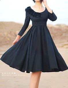 Special occasion dress in black linen with modified empire waist, 3/4 sleeves, scoop neckline, half-neckline rosettes / (MM06)  on Etsy.com by xiaolizi http://www.etsy.com/listing/61610035/black-wedding-prom-dress-mm06?ref=shop_home_active (black, color, clothing, dress)