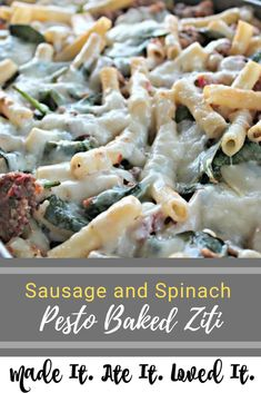 Pasta is made almost weekly in our home. I am always trying to mix up the ways that I serve it. Over the holiday break I made a lot of my baked ziti. It is a favorite of everyone but I was wanting to mix it up a little bit! I had bought some pesto for a spread on BLT's for dinner and spinach for a romaine/spinach mix for my favorite Loaded Italian Salad. I try to use my weekly groceries as best as possible so I added the extra pesto and extra spinach that I had and created this little gem. Food Dishes, Main Dishes, Pasta Dishes, Baked Ziti, Baked Macaroni, Best Comfort Food, Comfort Foods, Delicious Dinner Recipes, Delicious Food