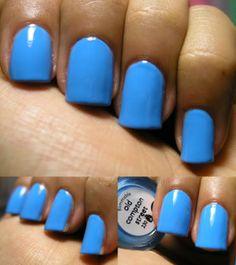 2 coats Nails Inc description: delicate baby blue. Part of the Sorbet Collecion released S. Nails Inc, Sorbet, Delicate