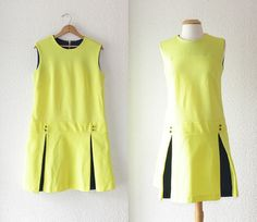 1960s neon yellow and navy peek a boo shift by School of Vintage