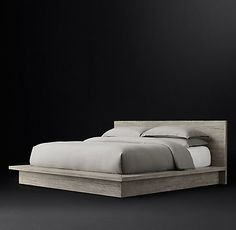 Reclaimed Russian Oak Platform Bedroom Collection Grey | RH Modern