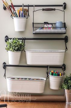 Craft room/ scrapbook room/ supplies organization using the IKEA Fintorp series of buckets, hooks, etc. Craft Room Storage, Wall Storage, Craft Organization, Storage Ideas, Hanging Storage, Craft Rooms, Ikea Storage, Creative Storage, Office Storage