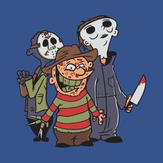 Awesome 'Ded+Dead+and+Deadly' design on TeePublic! Horror Cartoon, Funny Horror, Horror Icons, Horror Art, Horror Movie Characters, Horror Movies, Cartoon Drawings, Cartoon Art, Du Dudu E Edu