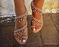 Sandalias, sandalias de cuero griego, lujosas sandalias de novia, sandalias Swarovski, lujosa sandalia, sandalias artesanales, sandalias Boho de la boda