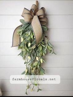 Lambs Ear Greenery Teardrop Swag Wreaths For Front Door, Door Wreaths, Grapevine Wreath, Christmas Wreaths, Christmas Decorations, Holiday Decor, Lambs Ear, Eucalyptus Leaves, Door Wall