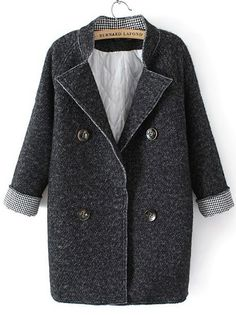 Grey Stand Collar Long Sleeve Buttons Woolen Coat 0.00
