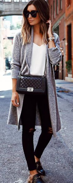 casual style obsession / cardigan + top + bag + rips + loafers