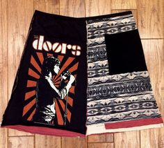 The Doors upcycled skirt women's upcycled by Theupcycledcloset