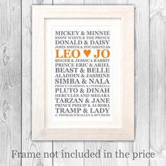Disney Couples Names Frame.