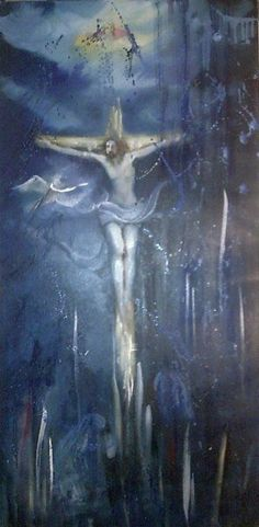 abstract crucifixion of Jesus conjured up. canvas Dimensions: 51 x 100 cm, made with oil paint