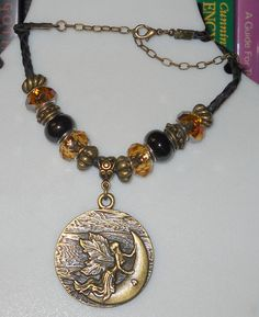 Autumn Forest Fairy Brass & Amber pendant by DragonsHordeJewelry, $26.00