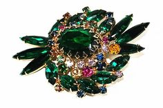 Vintage Juliana Brooch Green Navette by CommonCentsThrift on Etsy
