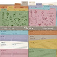 Printable Editable Recipe Cards and Dividers