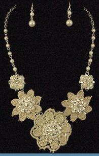 Ivory Floral Lace Necklace with Earrings Accented with Faux Pearls, Beads & Rhinestones ( see matching bracelet ) $24 @ www.whimzaccessories.com