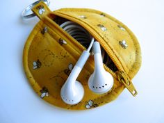 Ear Bud Pouch  Zip Pouch  Pouch  Mini Pouch  Coin by GabryRoad, $10.00
