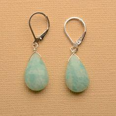 ocean blue earrings sea green earrings amazonite earrings by izuly, $44.00