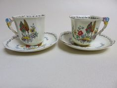 2 ART DECO  Royal Stafford 6409 HP  FLOWER HANDLE TEA CUPS AND SAUCERS #ROALSTAFFORD