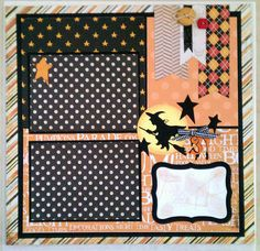 October 31st Halloween 12x12 premade scrapbook layout page Ohioscrapper on Etsy, $15.00