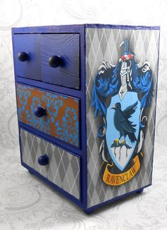 This item is custom and made to order. It takes 5 - 7 days to complete. Ravenclaw - Blue and Bronze - Harry Potter Stash Jewelry Box Four