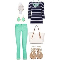 """Navy and Mint Casual"" by citysouthern on Polyvore"