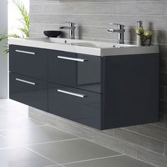 Chorus Wall Mounted Vanity Unit, 1440mm Wide, High Gloss Grey