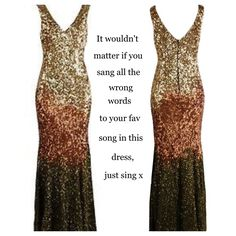 Glitter sequin dress coming soon. You will want to sing in it x